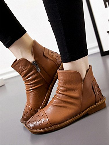 NVXIE Women's Ladies New Flats Shoes Short Boots Leisure Low Heel Round head Genuine Leather Plus Cashmere Warm Non-slip Pumps Fall Winter Party Work BROWN-EUR35UK3 W6shamRzyv