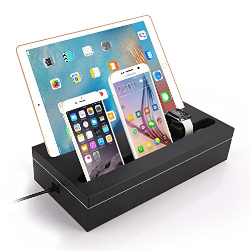 Charging Stand, Apple Watch Charging Dock Station with 6-Port Smart USB Charger for iPad / iPhone / Tablet and Apple Watch (Wireless Docking Station)