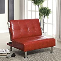Furniture of America Hollie Faux Leather Accent Chair in Red