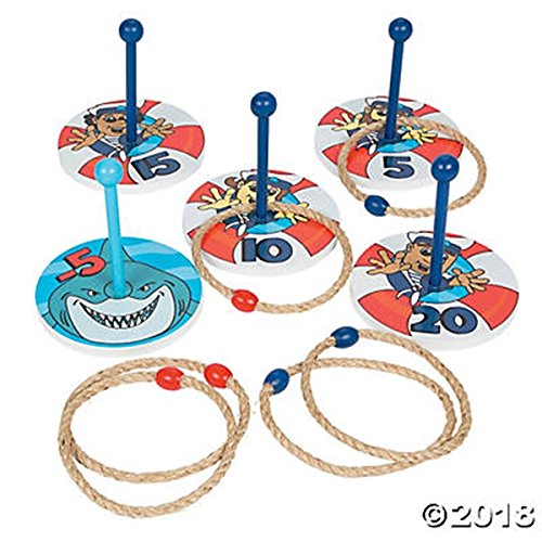 Shark Party Life Preserver Game - wooden ring toss game set