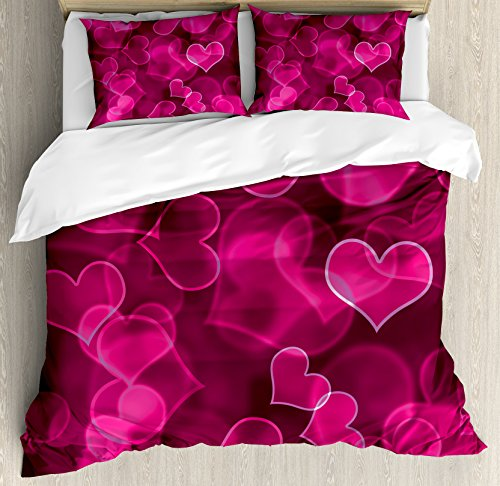 Ambesonne Hot Pink Duvet Cover Set Queen Size, Cute Sweet Heart Shapes on Blurry Background Romantic Love Valentine's Day, Decorative 3 Piece Bedding Set with 2 Pillow Shams, Magenta Hot Pink
