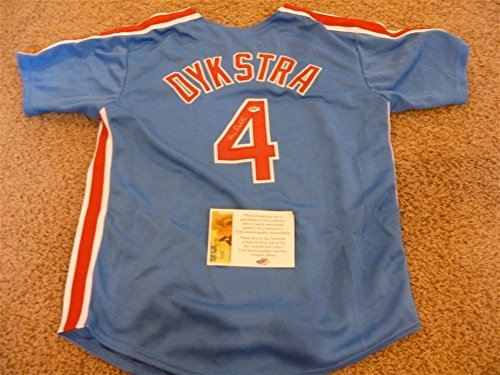LENNY DYKSTRA SIGNED AUTO PHILADELPHIA PHILLIES BLUE JERSEY JSA AUTOGRAPHED (Phillies Signed Hand Philadelphia)