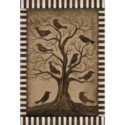Toland Home Garden Tree Ravens 28 x 40 Inch Decorative Rustic Black Bird Spooky Halloween House Flag]()