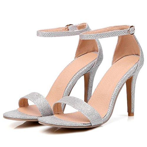 COOLCEPT Zapatos Mujer Moda Punta Abierta Tacon de Aguja Tacon Alto Al Tobillo Sandalias Comodo Boda Bombas Zapatos plateado
