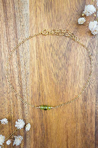 Dainty crystal peridot anklet in 14k gold fill - 8
