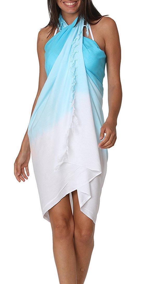 M&B USA Womens Sarong Pareo Tie Dye Cover up Wrap Beach Swimsuit Bikini Summer (One Size, Blue)
