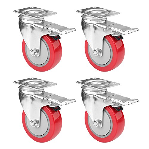 "4"" Swivel Plate Caster Wheels, PRITEK Heavy Duty Metal Caster Wheels Lock the Top Plate and the Wheels Replacement for Industrial Trailer or Large Home Furniture (bearing 250lbs each, set of 4)"