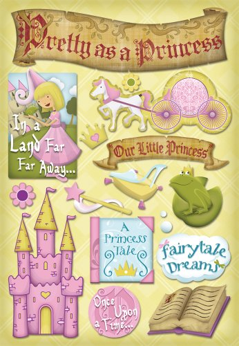 Dress Up Embellishments - Karen Foster Design Acid and Lignin Free Scrapbooking Sticker Sheet, A Princess Tale