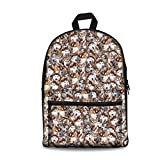 HUGS IDEA Classic Canves Laptop Backpack Huaky Head Animals Printed Rucksack Kids Shoolbag Weekend Bags