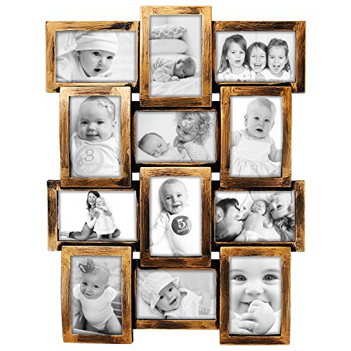 (DL Furniture - 12 Opening Decorative Wall Hanging Collage Puzzle Picture Photo Frame, 4 x 6 inches | Bronze)