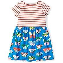 Fiream Girls Dresses,Short Sleeve Summer Cotton Striped Cute Print Pattern Casual Dress for Toddler
