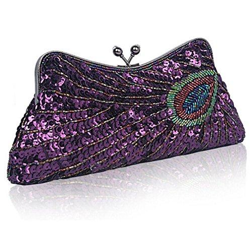 Lock Bolsa Bolsa Monedero de Dumpling Vintage Púrpura Kiss Lentejuelas de Bolsa Bolsa de de Mujer Cadena Baglamor con Embrague 5fqY5gx