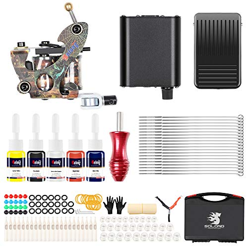 Hybrid Complete Tattoo Machine Kit Set for Beginner Power Supply Foot Pedal Needles Ink Set Tattoo Body Art TK106 from GUJIAO