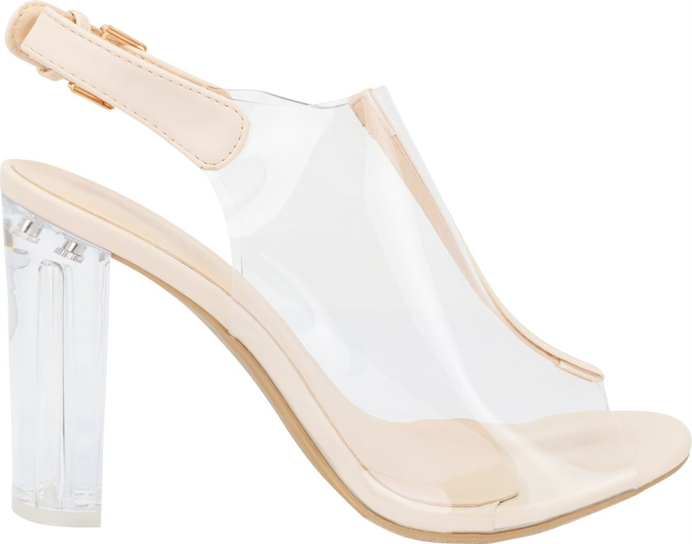 Top Moda Fenton 1 Womens Clear Chunky Heel Peep Toe Lucite Sandals Beige 5 by Top Moda (Image #6)