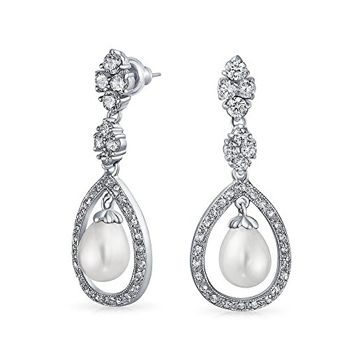 Bridal Cubic Zirconia Pave Halo CZ Teardrop White Simulated Pearl Dangle Earrings For Women For Prom Silver Plated Brass