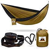 Traveler Fantasy Single/Double Camping Hammock, Durable Nylon Parachute Portable Ultraweight Hammock, Backpacking, Beach, Yard, Swing, Super Strong Straps & Carabiner (Elegant Brown w/Charcoal)