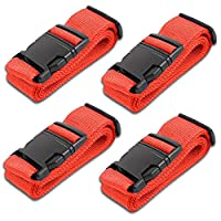 HeroFiber Red Luggage Belts Suitcase Straps Adjustable and Durable, Name Card, Travel Case Accessories, 4 Pack