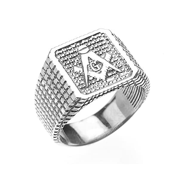 High-Polished-Sterling-Silver-Textured-Band-Masonic-Mens-Ring