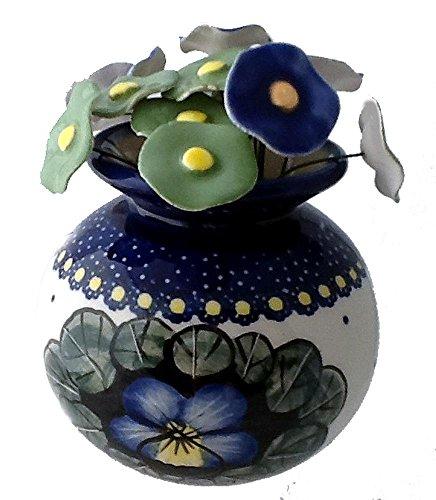 short-round-flower-vase-in-polish-pottery-pattern-jzb-or-pansies-plus-15-coordinating-ceramic-flower