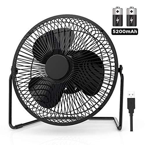 EasyAcc 9 Inch Battery Operated Desk Table Fan with Built-in