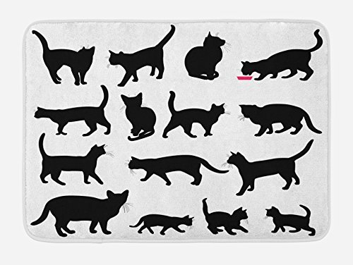 TINA-R Cat Doormat, Black Cat Silhouettes in Different Poses Domestic Pets Kitty Paws Tail and Whiskers, Plush Bathroom Decor Mat with Non Slip Backing, 24 x 16 Inches, Black White (Tin Silhouettes)