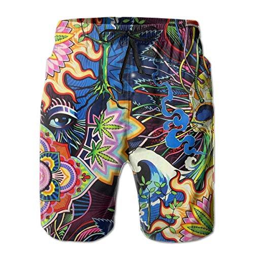 Psychedelic Cannabis Leaf Mandala Skull Men's Beach Shorts Summer Casual Swim Trunks with Pockets