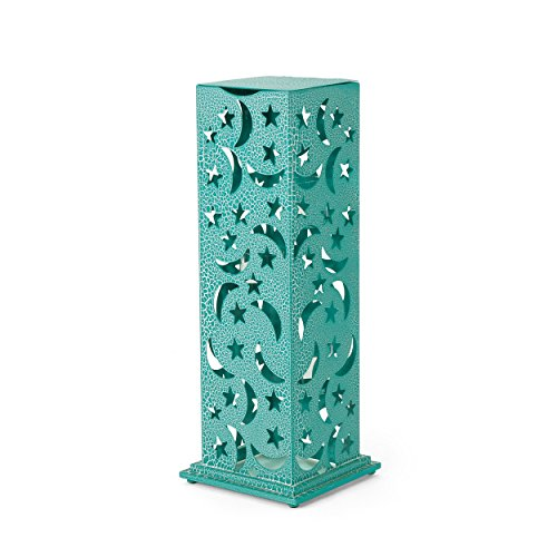 Great Deal Furniture 304276 Rovien Outdoor 34 Inch Iron Cutout Lantern, Crackle Teal