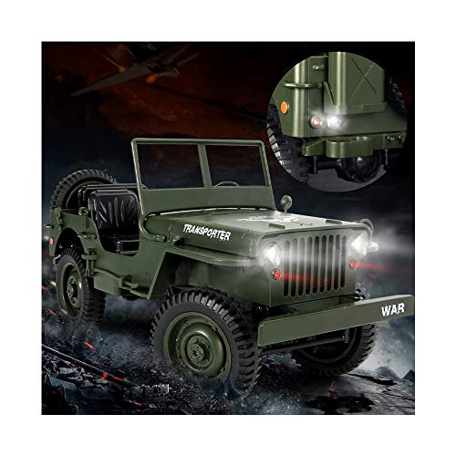JAWM 1/10 Scale Off-Road RC Military Truck 4-Wheel Drive, Light Four-Wheel Drive Off-Road 2.4G Climbing Car Q65 ()