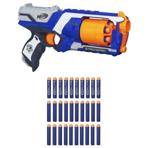 Nerf N-Strike Elite: Strongarm Blaster with 30-Dart Refill Pack Frustration-Free Packaging Bundle