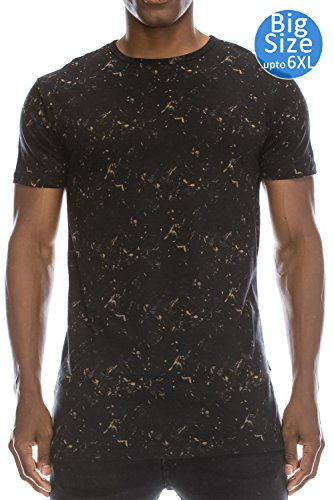 - JC DISTRO Mens Hipster Hip Hop Tied Washed High Low Brown T-Shirt 3XL