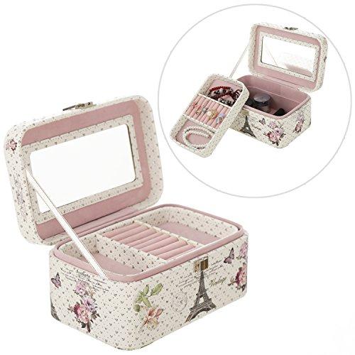Faux Leather Pink Vintage Parisian Design Jewelry Organizer Box with (Paris Plush)