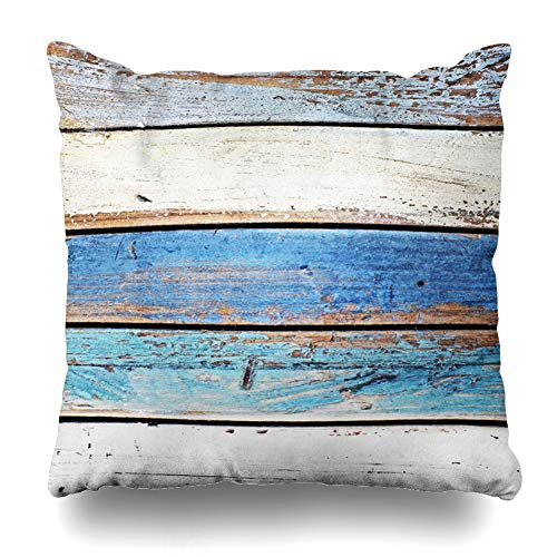 Ahawoso Throw Pillow Cover Square 20x20 Beach Blue Ocean Colored Wooden Panels Boats Wood Gray Nautical Driftwood Vintage White Color Antique Zippered Cushion Case Home Decor Pillowcase