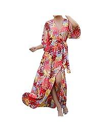 TYPEIN Vestido Largo de Verano para Mujer, Vestido Floral Maxi, Vestido de Fiesta de Playa con Botones, Estilo Bohemio