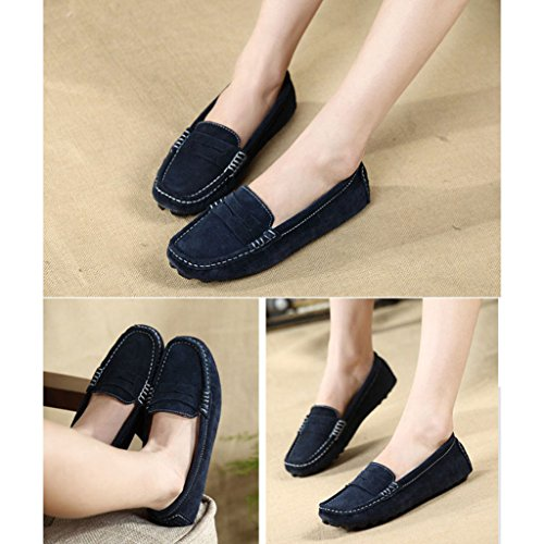 Oriskey Mocasines Pisos de Gamuza Mujer Loafers Casual Zapatos Zapatillas Azul profundo