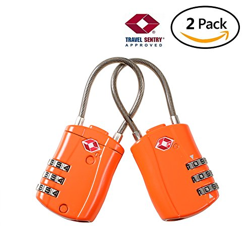 TSA Approved Travel luggage locks suitcases combination locks cable Added Security for Travel GYM Backpack 2 pack by ITAOLEBI
