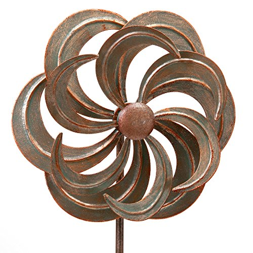 Bits and Pieces - Mini Flower Wind Spinner Garden Stake - Small Wind Sculpture for Your Garden, Lawn or Patio - Whirligig Made of Durable Iron - Kinetic Wind Mill