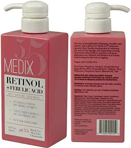 Medix 5.5 Retinol Cream with Ferulic Acid Anti-Sagging Treatment. Targets Crepey Wrinkles and Sun Damaged Skin. Anti-Aging Cream Infused With Black Tea, Aloe Vera, And Chamomile (15oz)