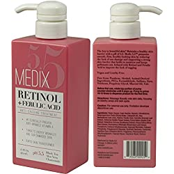 Medix 5.5 Retinol Cream with Ferulic Acid Anti-Sagging Treatment. Targets Crepey Wrinkles and Sun Damaged Skin. Anti-Aging Cream Infused With Black Tea, Aloe Vera, And Chamomile (Two - 15oz)