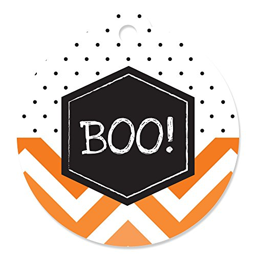 Eat, Drink and Be Scary – Chevron Black and Orange - Halloween Party Favor Gift Tags (Set of 20)