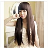 Cool2day New Fashion Neat Bangs Wigs Full Head Straight Medium Brown Wig Heat