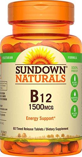 Sundown Naturals Vitamin B-12 1500 mcg, 60 Time Release Tablets (Pack of 3) (Vitamins Natural Source B-12)