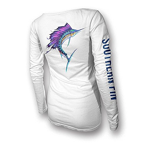 Womens Performance Fishing Shirt - Southern Fin Apparel Girls Ladies Long Sleeve (Medium, Sailfish) (Performance Fin)
