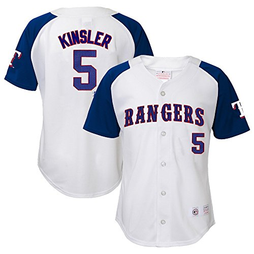 Outerstuff Ian Kinsler MLB Texas Rangers Player White Home Button Down Jersey Youth (XS-XL)