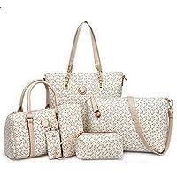 حقيبة جلد صناعي للنساء-اوف وايت - مجموعة حقائب اليد