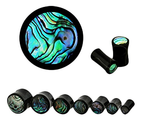 Abalone Inlay Organic Horn Saddle Fit Freedom Fashion Plug (Sold by Pair) (Horn Saddle Ear Plug)