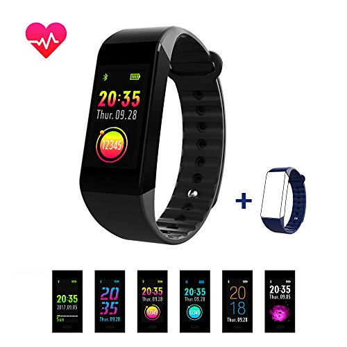 Smiler+ Fitness Tracker, Upgraded Color Screen Heart Rate Monitor Blood Pressure Smart Bracelet Wristband, Sleep Monitor Pedometer Sport Waterproof Activity Tracker for iPhone Android Smartphone by Smiler+