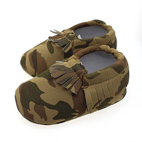 ESHOO bebé niños niñas borla mocasín de piel sintética suave suela zapatos 0–18M rojo rosa (b) Talla:0-6 meses KMC