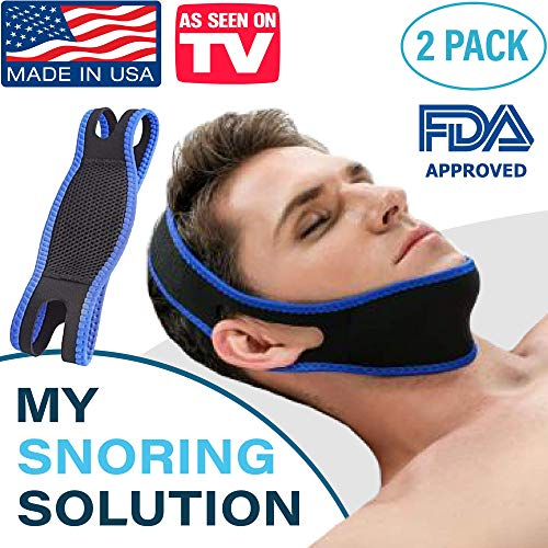 My Snoring Solution Chin Strap For Men & Women - 2 Pack Anti Snoring Chin Strap Devices - Adjustable Stop Snoring Jaw Strap And Comfortable Anti Snore Chin Strap - Perfect Snoring Aids Alternative