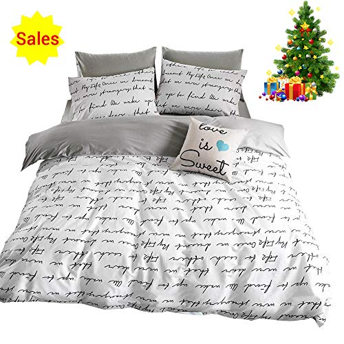 - OROA Lightweight Cotton Duvet Cover Set for Teens Adults White Grey Queen 3 Piece Reversible Letters Home Textile Bedding Set with Pillowcases, Simple Letter Print, Style 5