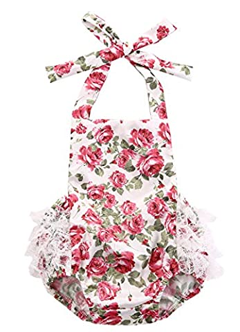 Baby Rompers Girls Ruffled Flower Lace Bodysuit Jumpsuit Romper Outfits 0-24M (6-12 Months, Rose - Summer Infant Sweet